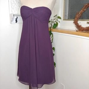 Bill Levkoff Plum Strapless Bridesmaid Dress, 8